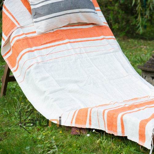 fouta serviette de plage drap de bain en coton tiss main ethiopie blanc ivoire orange mandarine. Black Bedroom Furniture Sets. Home Design Ideas
