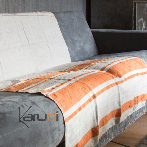plaid jet de canap en coton tiss d 39 ethiopie nile blanc ray orange mandarine dana esteline. Black Bedroom Furniture Sets. Home Design Ideas