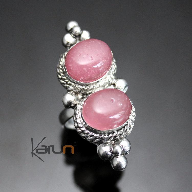 Bijoux Argent Quartz Rose : Bijoux ethniques indiens n?pal bague quartz rose tibetaine
