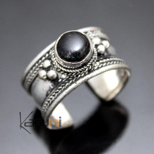 bijoux ethniques indiens bague anneau en plaqu argent pierre onyx noir homme femme r glable. Black Bedroom Furniture Sets. Home Design Ideas