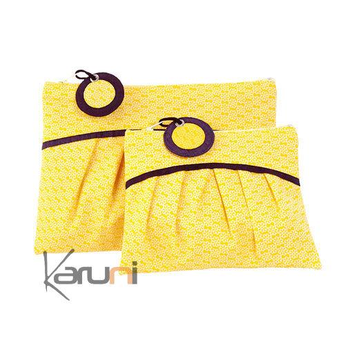 trousse maquillage pochette en tissu coton soie du cambodge la vie devant soie jaune soleil. Black Bedroom Furniture Sets. Home Design Ideas