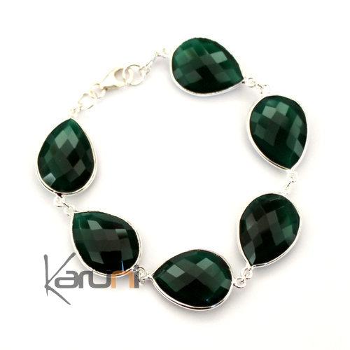 bijoux indiens ethniques bracelet en argent 925 et pierres fines facettes 02 agate verte. Black Bedroom Furniture Sets. Home Design Ideas