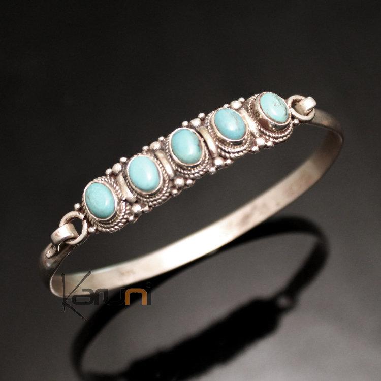 bijoux ethniques indiens bracelet en argent massif 925 nepal 35 jonc attache 5 pierres turquoise. Black Bedroom Furniture Sets. Home Design Ideas