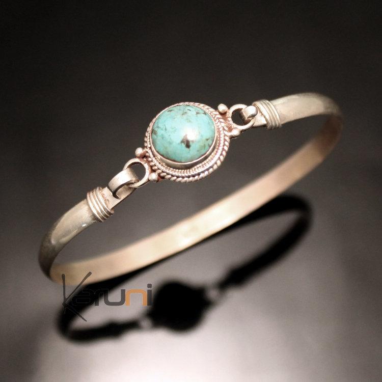 bijoux ethniques indiens bracelet en argent massif 925 nepal 52 jonc attache turquoise. Black Bedroom Furniture Sets. Home Design Ideas