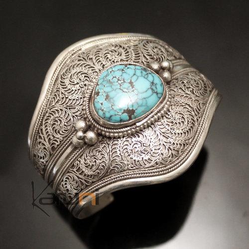 bijoux ethniques indiens bracelet en argent massif 925 nepal 93 manchette large filigranes turquoise. Black Bedroom Furniture Sets. Home Design Ideas