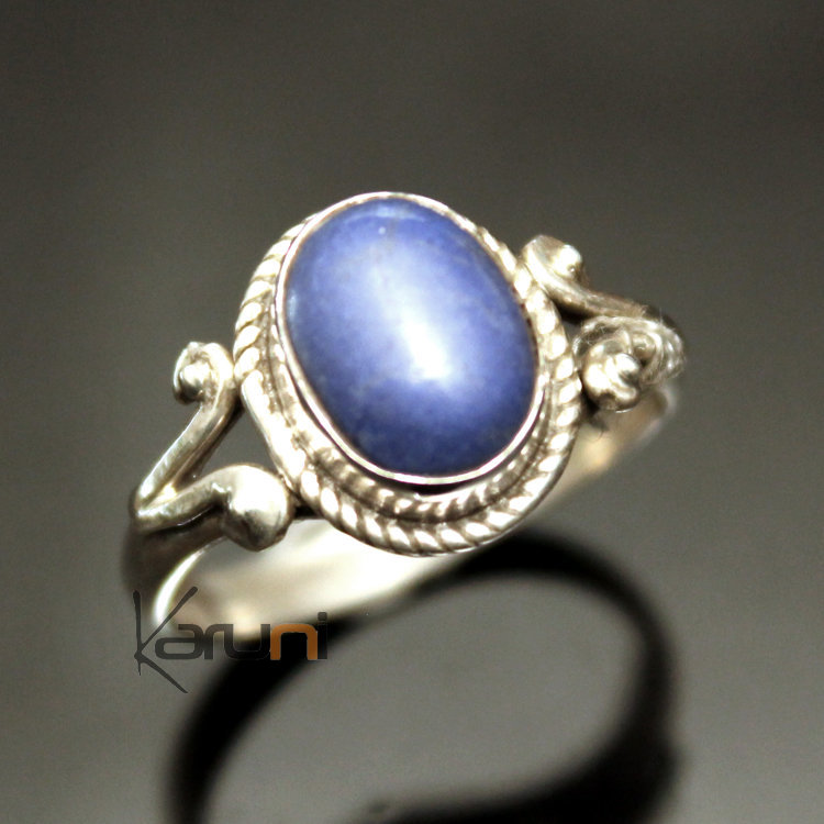 bijoux ethniques indiens bague en argent massif 925 inde 07 fine lapis lazuli filigranes. Black Bedroom Furniture Sets. Home Design Ideas