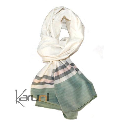 etole cheche echarpe foulard femme en soie tiss fine cambodge maelly la vie  devant soie blanc 6144145f1c9