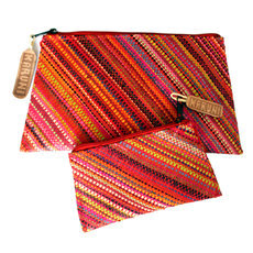 Pochette raphia à motifs Lot de 2 - rouge, orange et jaune