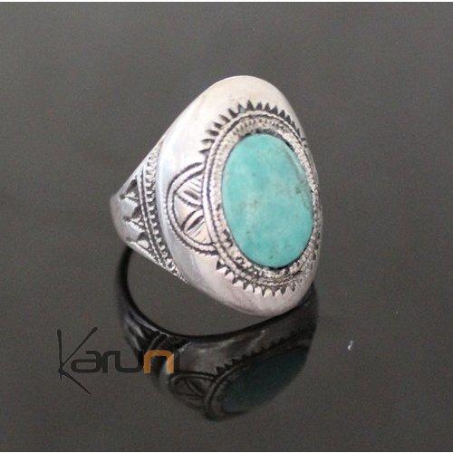bague en argent avec pierre turquoise