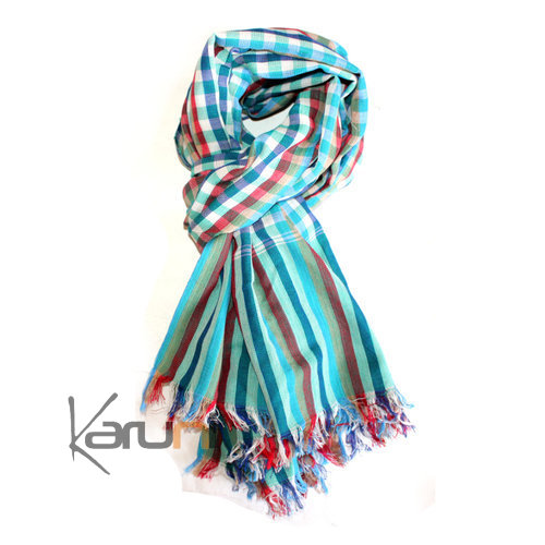 krama cheche foulard echarpe coton homme femme cambodge arun sarany shop carreaux bleu turquoise. Black Bedroom Furniture Sets. Home Design Ideas