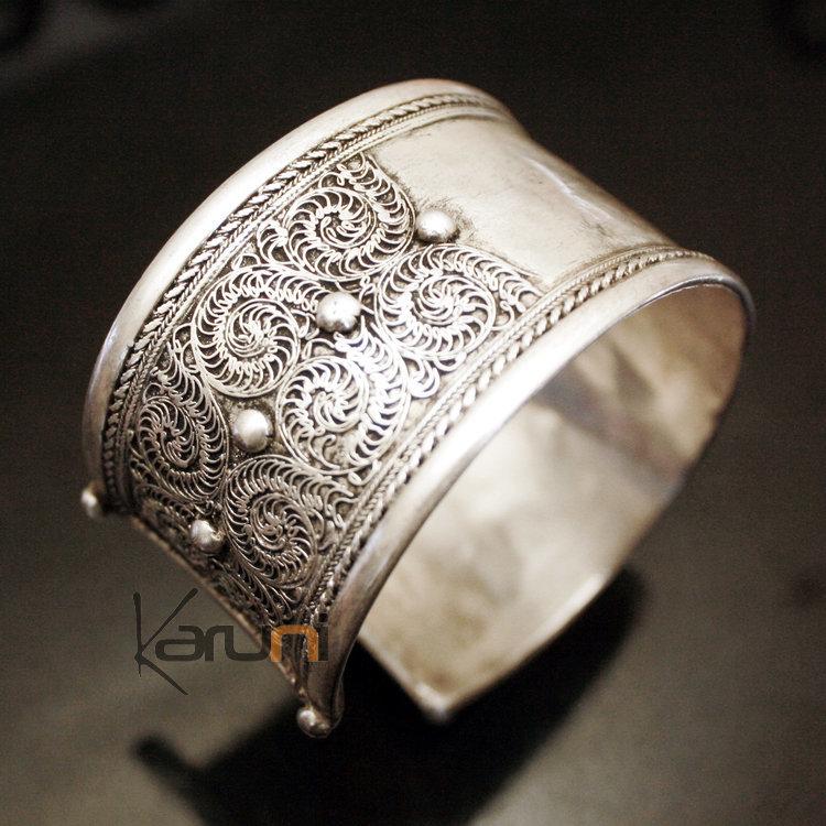 Bijoux Argent Filigrane : Bijoux ethniques indiens bracelet manchette en argent mix