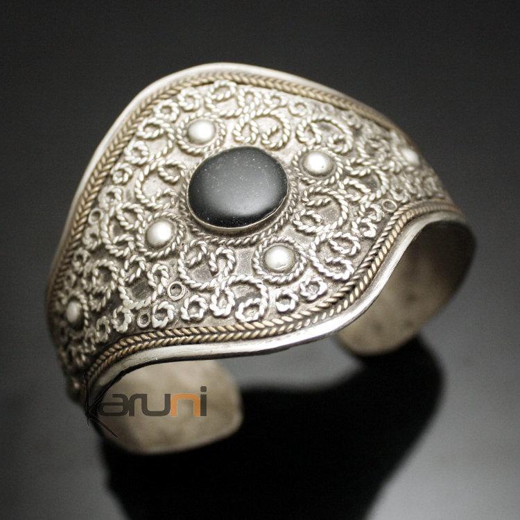 bijoux ethniques orientaux berb res bracelet manchette en argent mix 06 perle noire. Black Bedroom Furniture Sets. Home Design Ideas