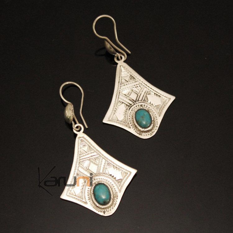 Boucle d'oreille turquoise ethnique argent
