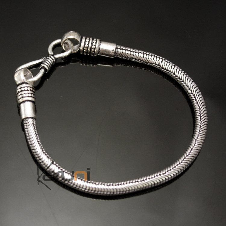 Bijoux Ethniques Indiens Bracelet Chaîne En Plaqué Argent Serpent Snake  Homme/Femme Rond 4 mm