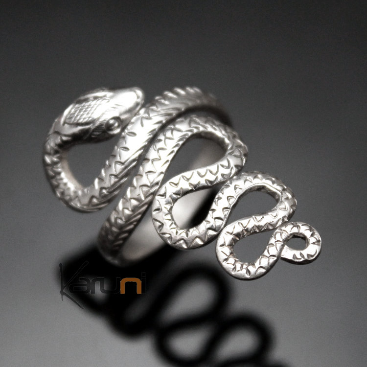 Bague forme serpent argent