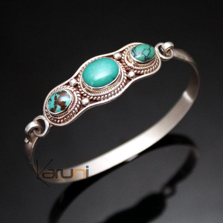 Bijoux Ethniques Indiens Bracelet en Argent Massif 925 Nepal 05 Jonc  Attache Turquoise Newari