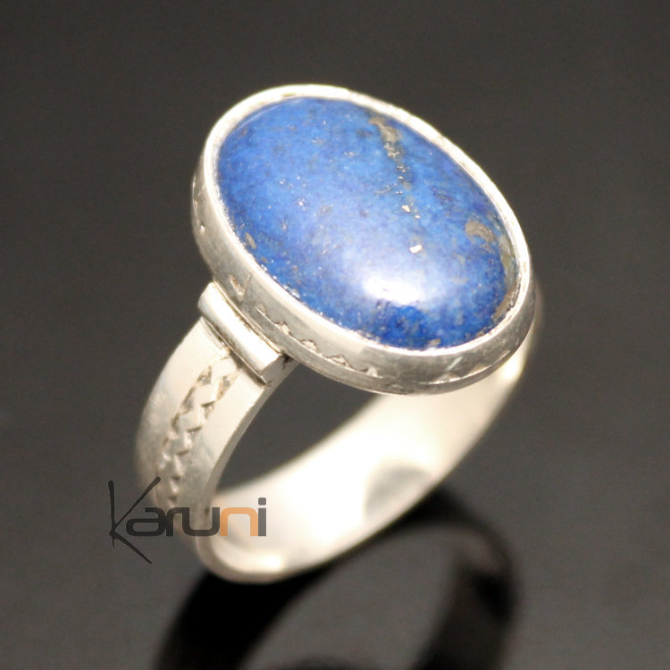 bijoux touareg ethniques africains bague en argent lapis lazuli 15 homme femme ovale. Black Bedroom Furniture Sets. Home Design Ideas