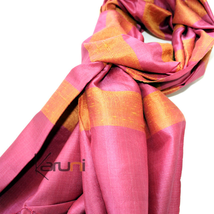 etole cheche echarpe foulard femme en soie tiss cambodge malya la vie devant soie rose orange. Black Bedroom Furniture Sets. Home Design Ideas