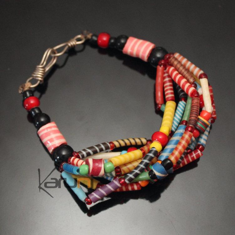 Bijoux Ethniques Africains Bracelets Multi,Rangs JOKKO en Plastique Recyclé  Perles Coupé,Coupé Multicolore