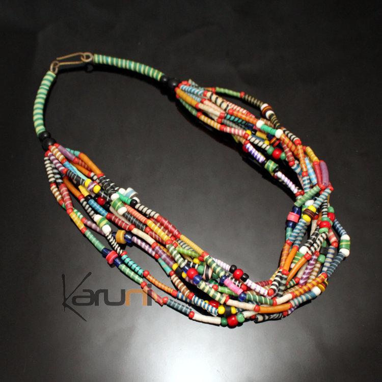 Bijoux Ethniques Africains Collier Multi,Rangs JOKKO en Plastique Recyclé  Perles Coupé,Coupé Multicolore