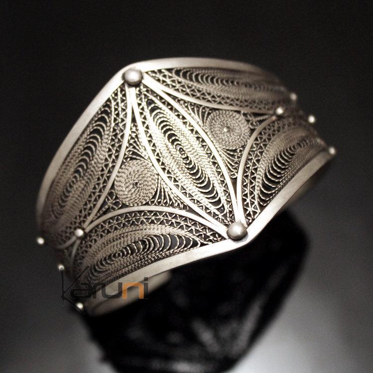 Bijoux Ethniques Orientaux Berbères Bracelet en Argent Massif Filigranes 01  Manchette