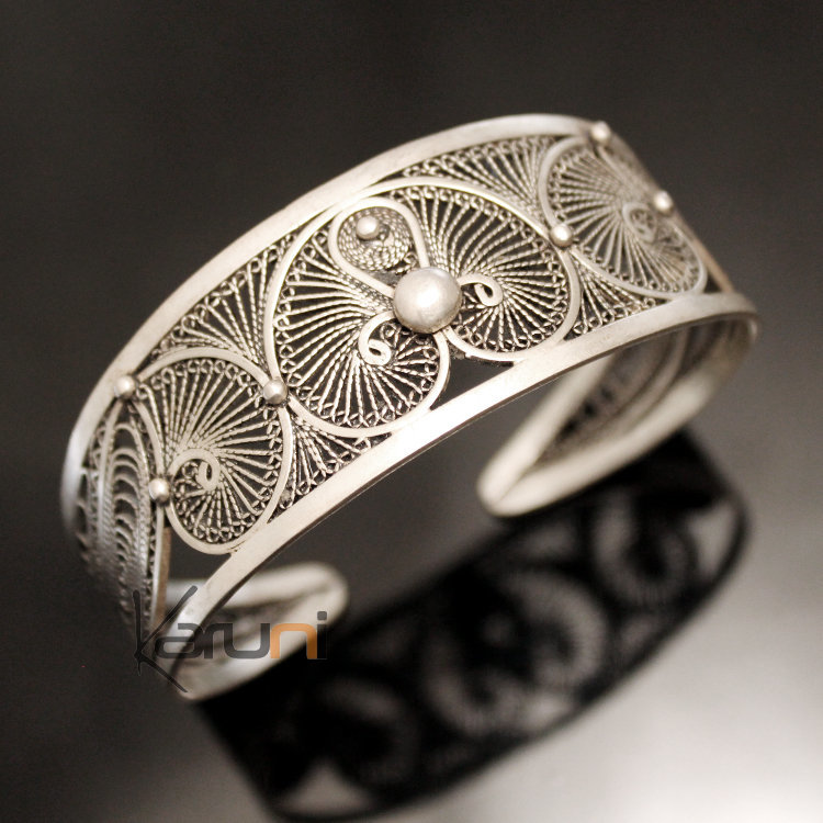 Bijoux Ethniques Orientaux Berbères Bracelet en Argent Massif Filigranes 03  Manchette