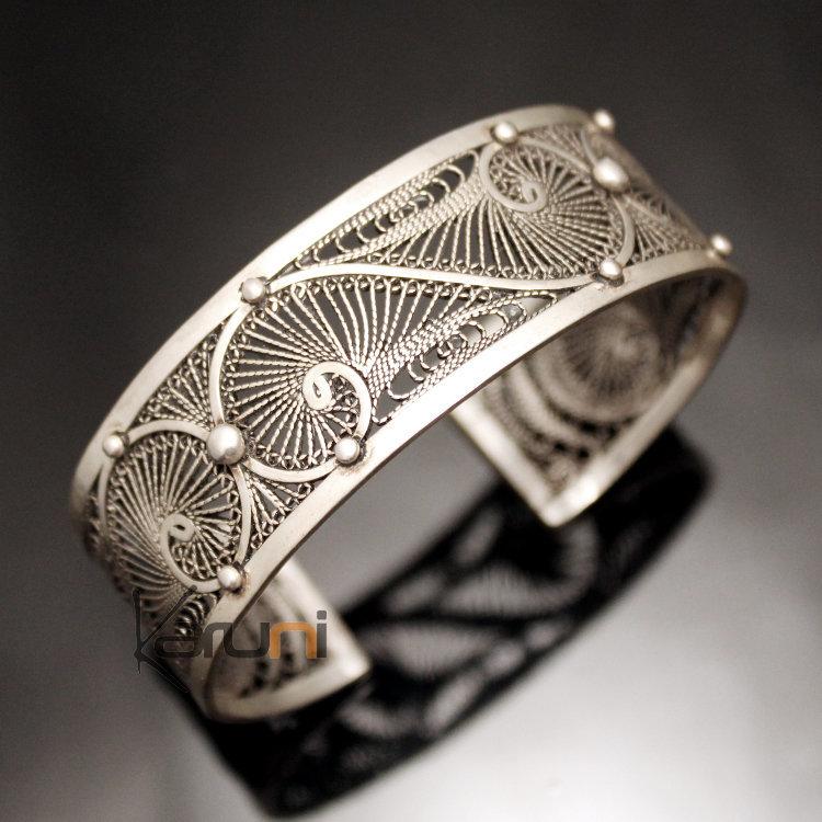 bijoux ethniques orientaux berb res bracelet en argent massif filigranes 04 manchette. Black Bedroom Furniture Sets. Home Design Ideas