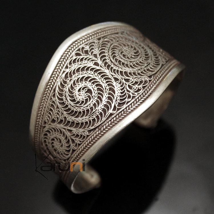 bijoux ethniques indiens bracelet en argent massif 925 nepal 79 manchette filigranes 4 cm. Black Bedroom Furniture Sets. Home Design Ideas