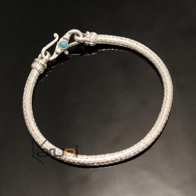 Bijoux Ethniques Indiens Bracelet en Argent Massif 925 Nepal 88 Chaîne  Snake Serpent Rond Homme/Femme 5 mm