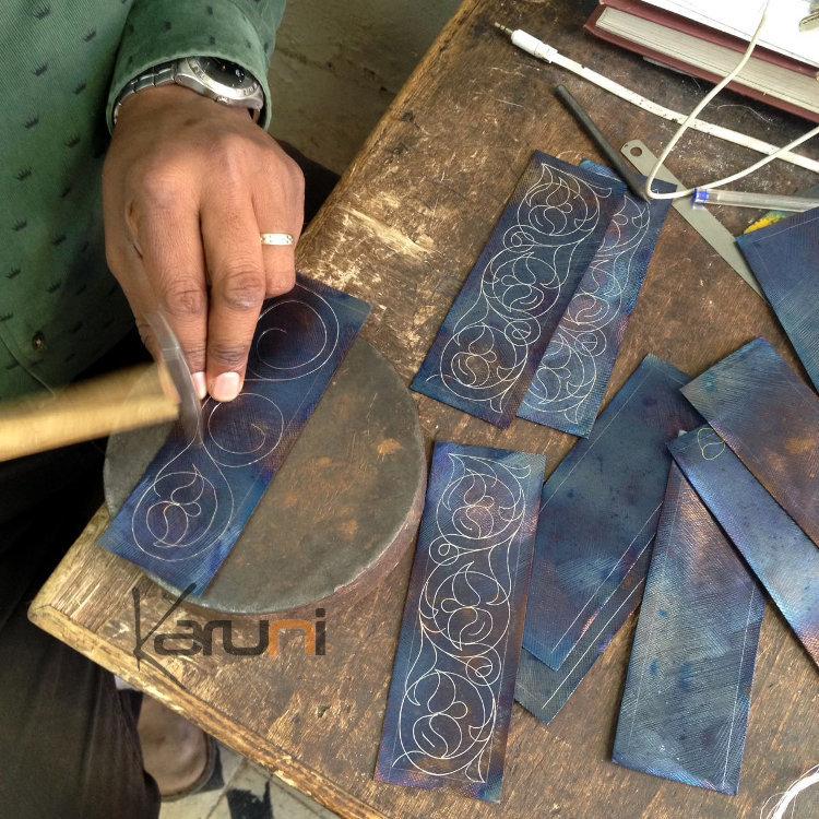 Bijoux Ethniques Orientaux Berbères Bracelet en Acier et Argent Massif  Filigranes 11 Manchette 5,5 cm Damasquinerie