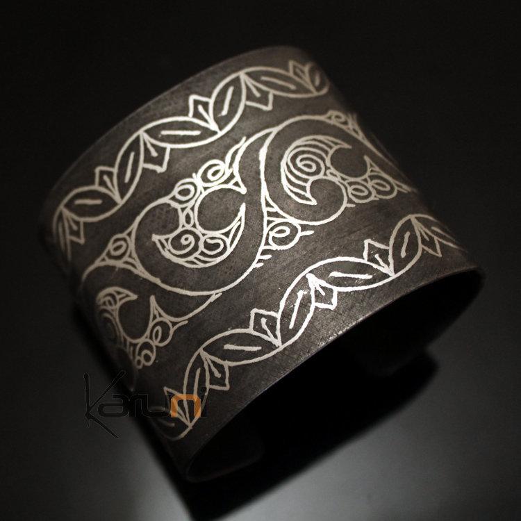 Bijoux Ethniques Orientaux Berbères Bracelet en Acier et Argent Massif  Filigranes 13 Manchette 5,5 cm Damasquinerie du Maroc Meknes