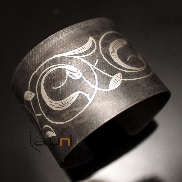 Bijoux Ethniques Orientaux Berbères Bracelet en Acier et Argent Massif  Filigranes 18 Manchette 4,5 cm Damasquinerie du Maroc Meknes