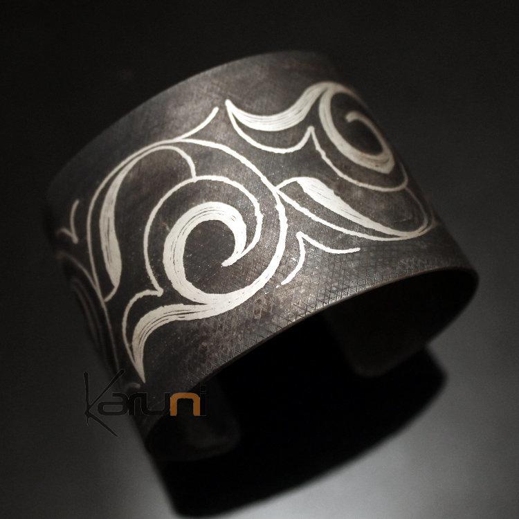 Bijoux Ethniques Orientaux Berbères Bracelet en Acier et Argent Massif  Filigranes 19 Manchette 4,5 cm Damasquinerie du Maroc Meknes