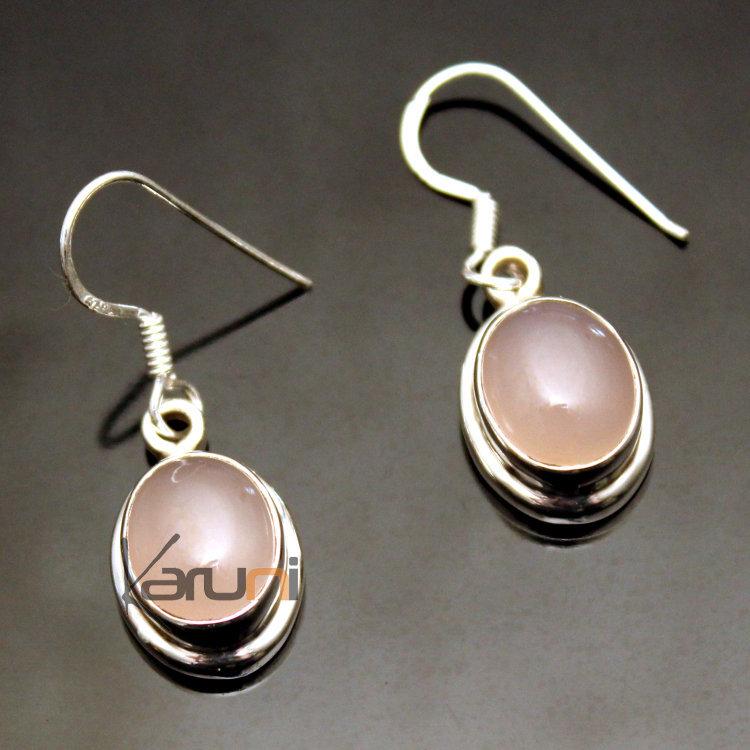 Bijoux Argent Quartz Rose : Bijoux ethniques indiens boucles d oreilles en argent
