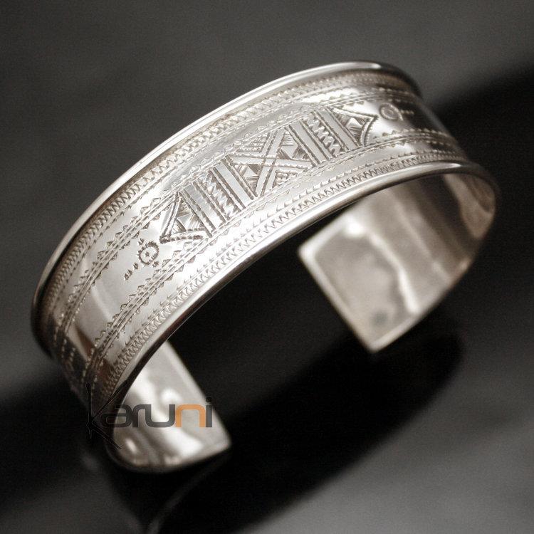 Bijoux Touareg Ethniques Bracelet en argent Large Plat Bandeau Gravé Homme/ Femme 01