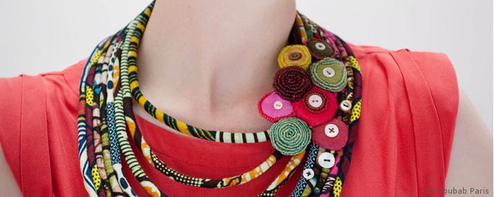 Création Bijoux Fantaisie Tissu : Bijoux ?thiques en tissu collier sautoir toubab paris