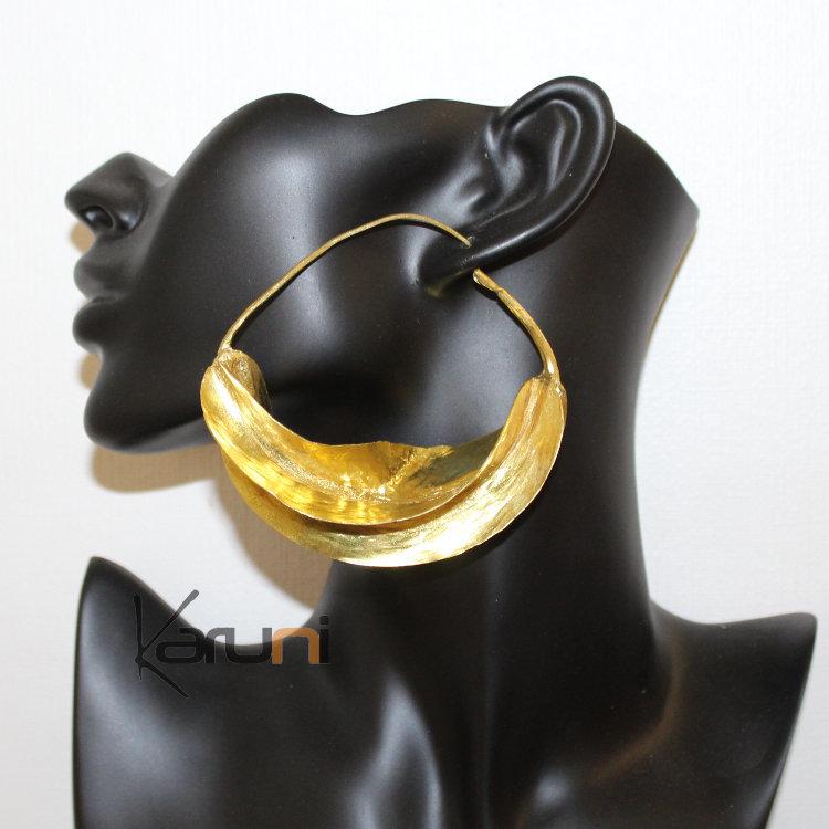 D'oreilles Cm Du Créole Bronze Feuille Boucles Doré 16 9 Mali Peul bf76yg