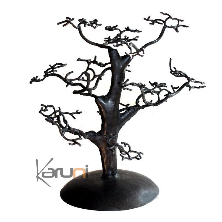 arbre bijoux porte bijoux design c dre droit 30 cm m tal recycl baobab madagascar. Black Bedroom Furniture Sets. Home Design Ideas
