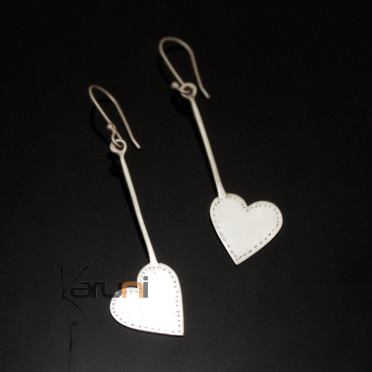 ombre claire bijoux boucles d 39 oreilles en argent pendant coeur tige ethniques design touareg. Black Bedroom Furniture Sets. Home Design Ideas
