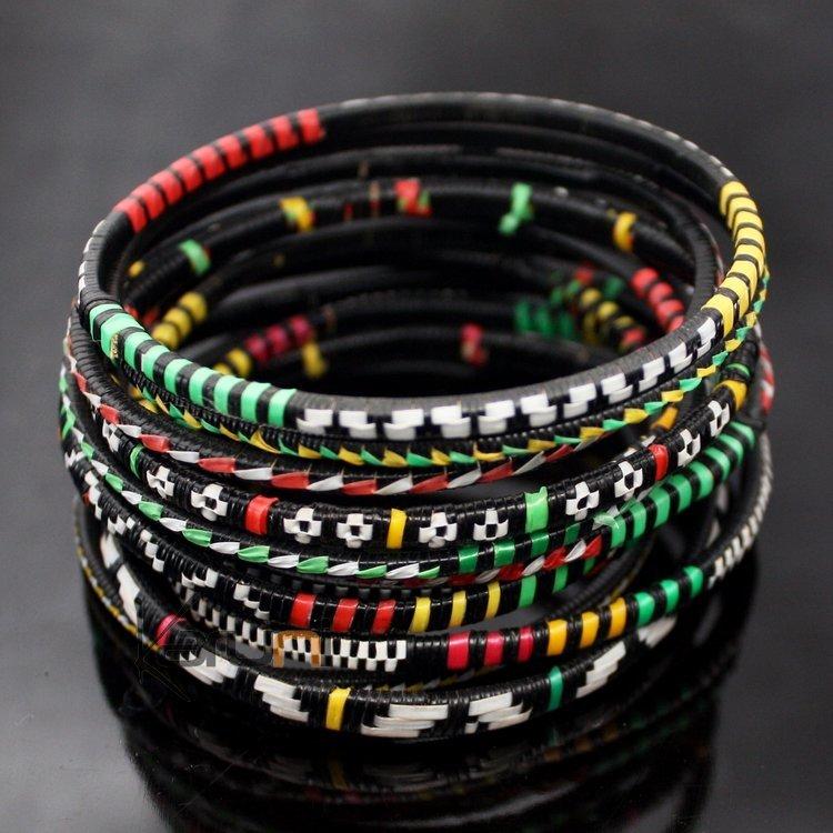 Bracelets Fin Plastique Homme/Femme/Enfant Lot 6 ou 12 Rouge/Vert/Jaune Bracelet  Africain