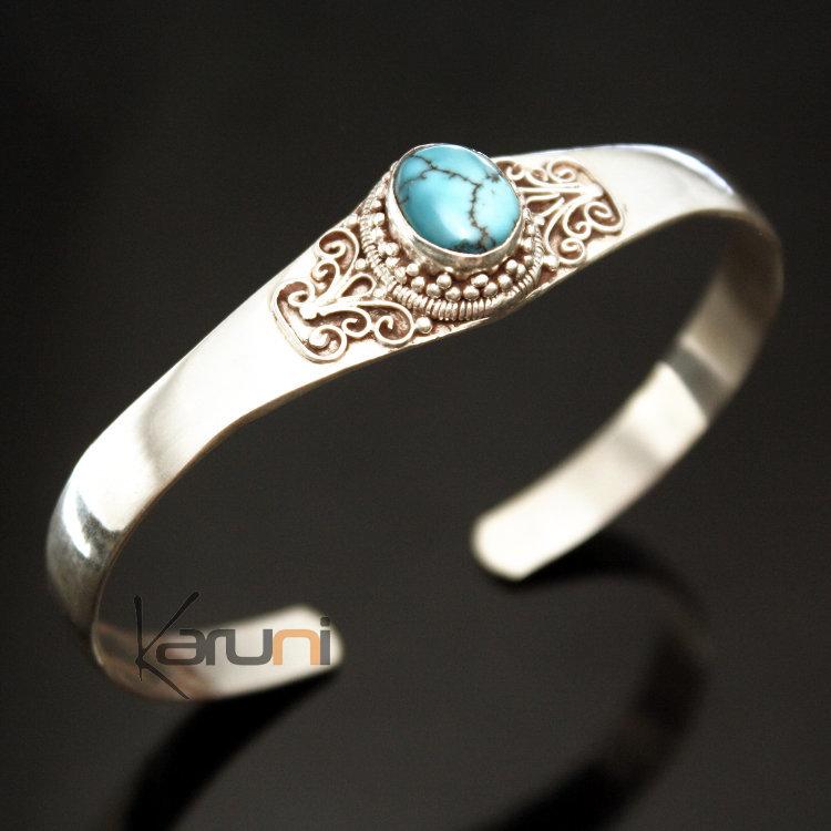 les ventes chaudes 218d6 f0a3e Bracelet en Argent Massif 925 Nepal 27 Jonc Turquoise Newari