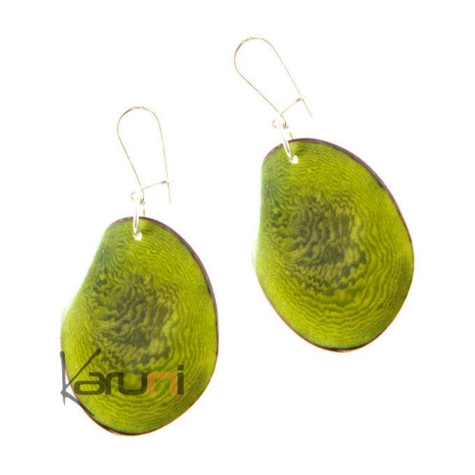 économiser jusqu'à 60% pas cher à vendre beau look Tagua and Co Boucles d'Oreilles Graines Ivoire Végétale Pétale Vert Bijoux  Design Créateur