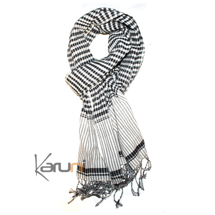 5ace8f2bdbe Krama Cheche Foulard Echarpe Coton Homme Femme Cambodge Channa Petits Carreaux  Blanc Noir 170x50 cm