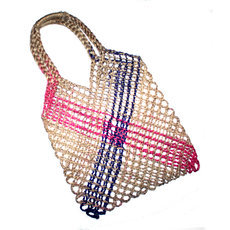 Sac en Crochet Ficelle Filet à Provisions Mode Cambodge Design Ethnique Tendance Naturel Violet Rose Sarany Shop