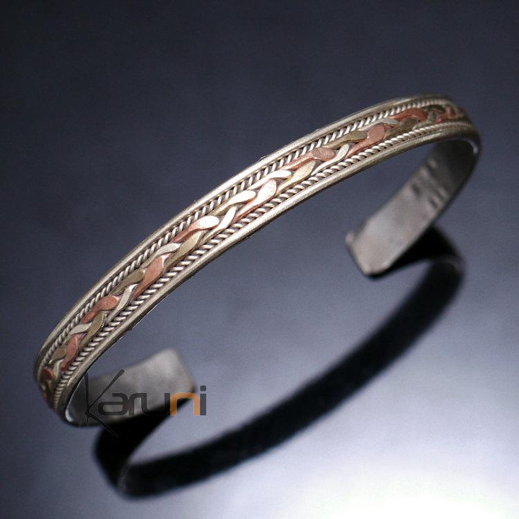 design intemporel b54d5 c3cfe Bracelet Jonc en Cuivre Laiton Homme/Femme Nepal 08 Large Tressé