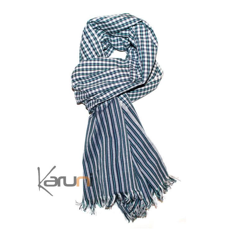5488c9d083b4 Krama Cheche Foulard Echarpe Coton Homme Femme Cambodge Channa Sarany Shop Carreaux  Blanc Vert Noir 160x75 cm