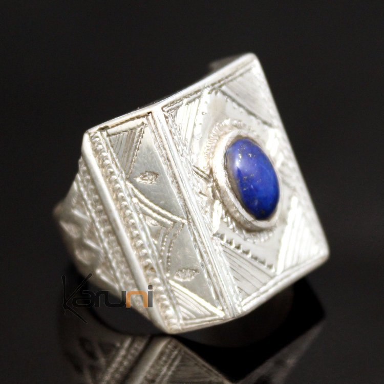 Argent Lazuli Hommefemme En Lapis Chevalière Bague 20 Rectangle 2D9eYHEIWb