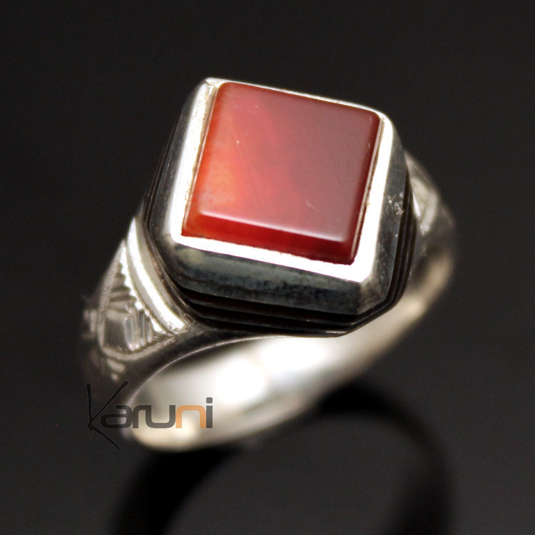 bague homme agate rouge