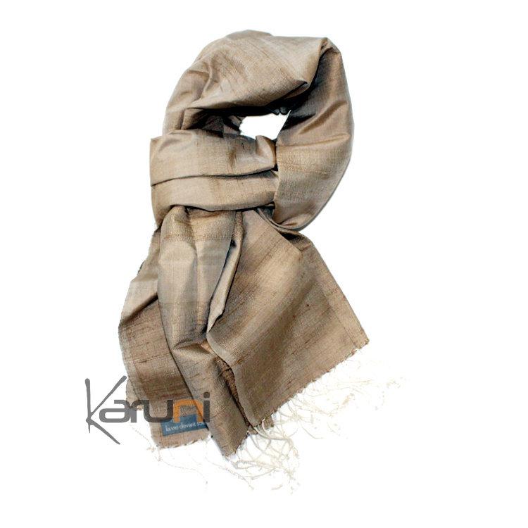 etole cheche echarpe foulard femme en soie tiss cambodge malya la vie devant soie beige clair. Black Bedroom Furniture Sets. Home Design Ideas
