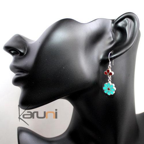 Corail rouge boucles d/'oreilles Plaqué argent Tibet